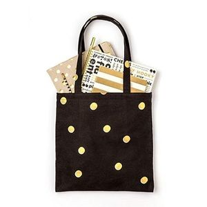 Kate spade scatter dot canvas tote black and gold